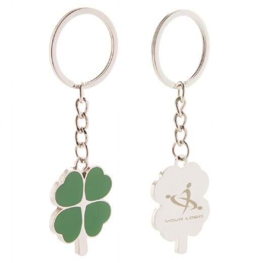 Lucky con quadrifoglio argento FABACH regalo di buona fortuna portafortuna - FB/_Lucky/_S Argento in metallo portachiavi con angelo custode