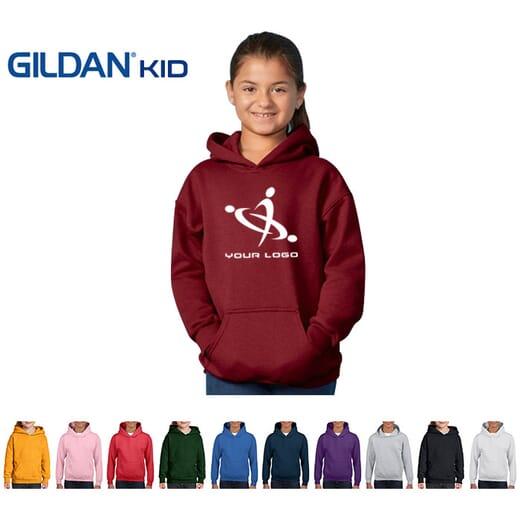 Felpa da bambino con cappuccio e zip Gildan Heavy Blend