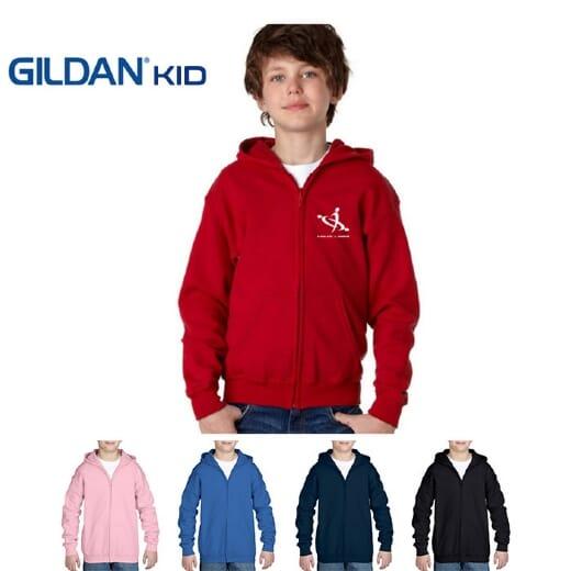 Felpe bambino con cappuccio e zip Gildan Heavy Blend