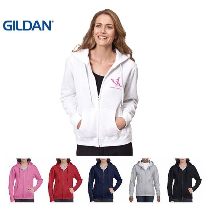Gildan Heavy Blend Donna felpa con cappuccio e zip