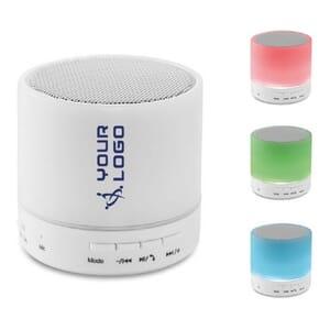 Speaker Bluetooth con LED  ROUND WHITE