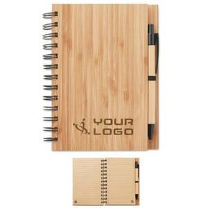 Notebook in bamboo con penna BAMBLOC