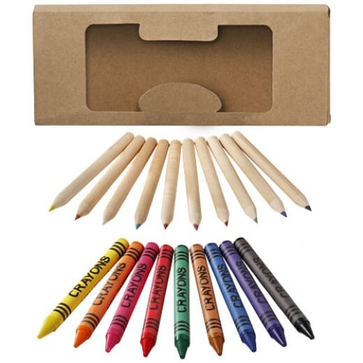 Set di matite e pastelli a cera da 19 pezzi LUCKY - 1